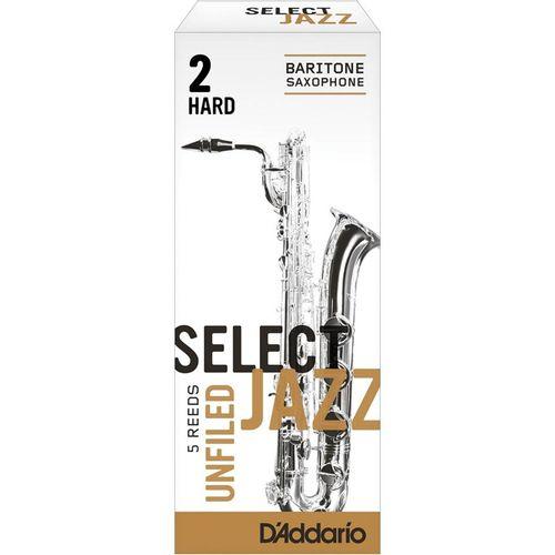 "Palheta 2H ""Select Jazz Unfiled - D'Addario"", Sax Barítono, cx c/05"