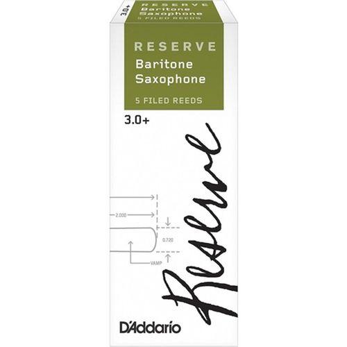 "Palheta 3.0+ ""Reserve - D'Addario"", Sax Barítono, cx c/5 unid."