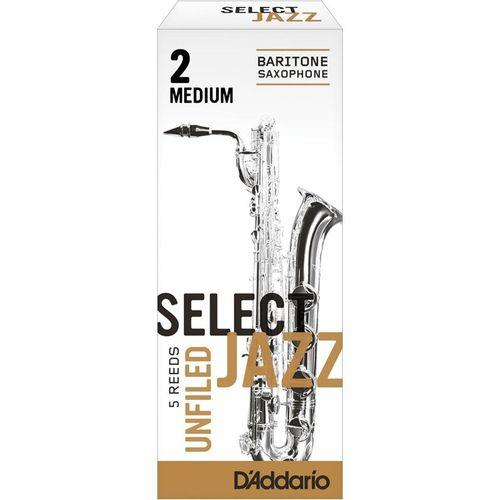 "Palheta 2M ""Select Jazz Unfiled - D'Addario"", Sax Barítono, cx c/05"