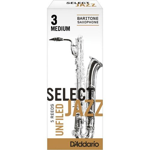 """Palheta 3M """"Select Jazz Unfiled - D'Addario"""", Sax Barítono, c/05"""